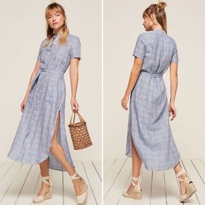 Reformation Ghana blue plaid shirt belt maxi dress